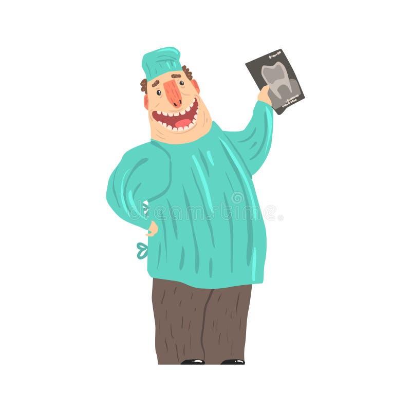 Illustrazione sorridente di vettore dell'immagine dei raggi x della tenuta del carattere del dentista del fumetto illustrazione di stock
