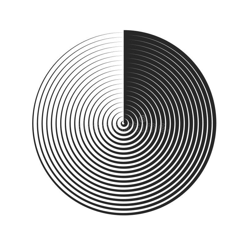 Illustrazione a spirale di vettore dell'elemento Circonda l'elemento geometrico Ambiti di provenienza concentrici illustrazione di stock