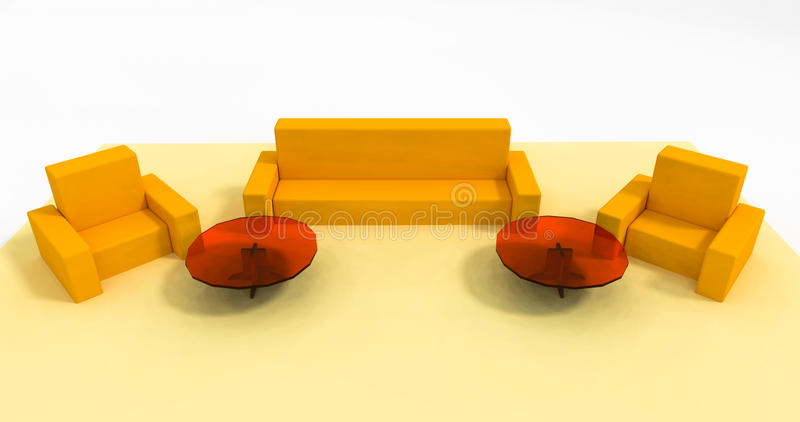 Illustrazione stabilita 3d della mobilia gialla immagini stock