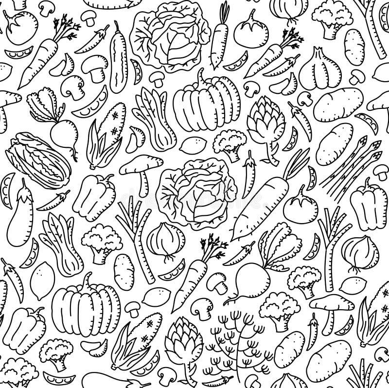 Illustrazione stabilita del modello del fondo dei bambini del disegno stazionario di verdure della mano royalty illustrazione gratis