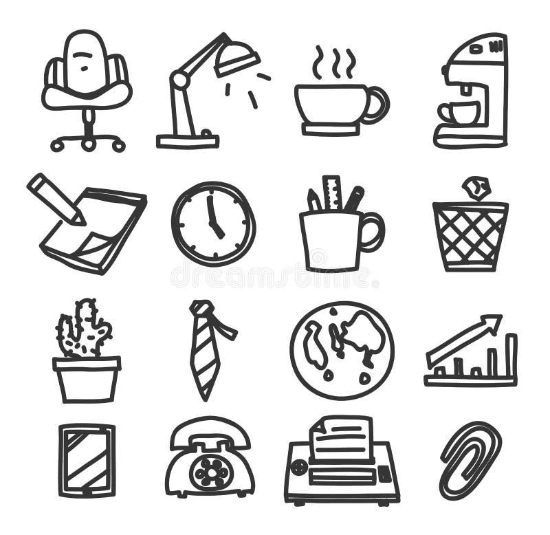 Illustrazione stabilita di arte di vettore disegnato a mano dell'ufficio dell'icona illustrazione vettoriale