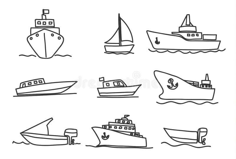 Illustrazione stabilita di arte di vettore disegnato a mano delle icone delle barche e delle navi illustrazione di stock