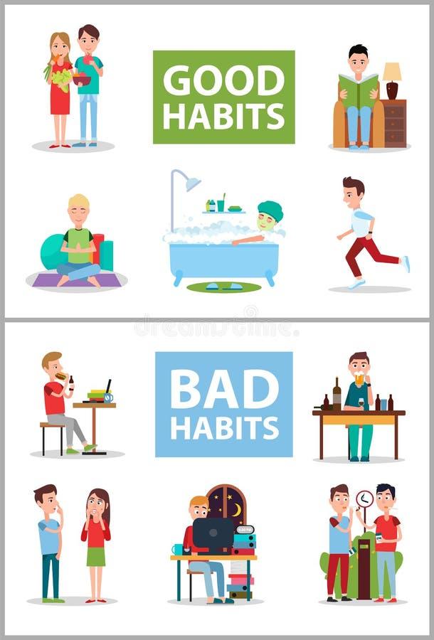 Illustrazione stabilita di cattive abitudini e buona del manifesto di vettore illustrazione di stock
