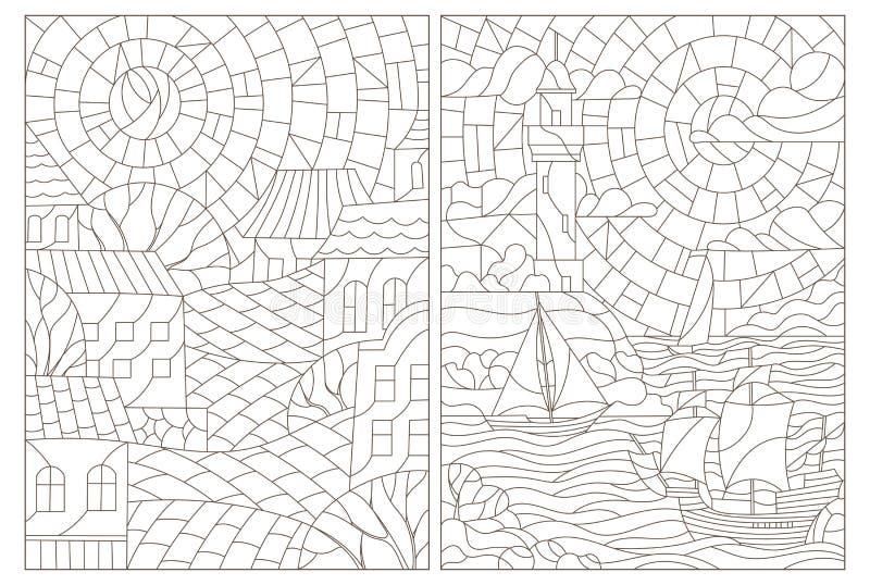 Illustrazione stabilita di contorno con vetro macchiato Windows con i paesaggi, la città e le viste sul mare royalty illustrazione gratis