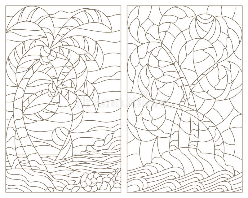 Illustrazione stabilita di contorno con vetro macchiato Windows dei paesaggi tropicali, dell'isola con le palme contro il cielo,  illustrazione vettoriale
