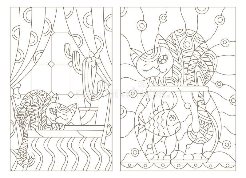 Illustrazione stabilita di contorno nella finestra di stile del vetro macchiato con le tende e un cactus e un gatto sul davanzale royalty illustrazione gratis