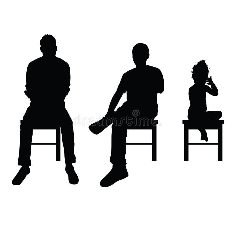 Illustrazione stabilita di seduta della siluetta del bambino e dell'uomo illustrazione di stock