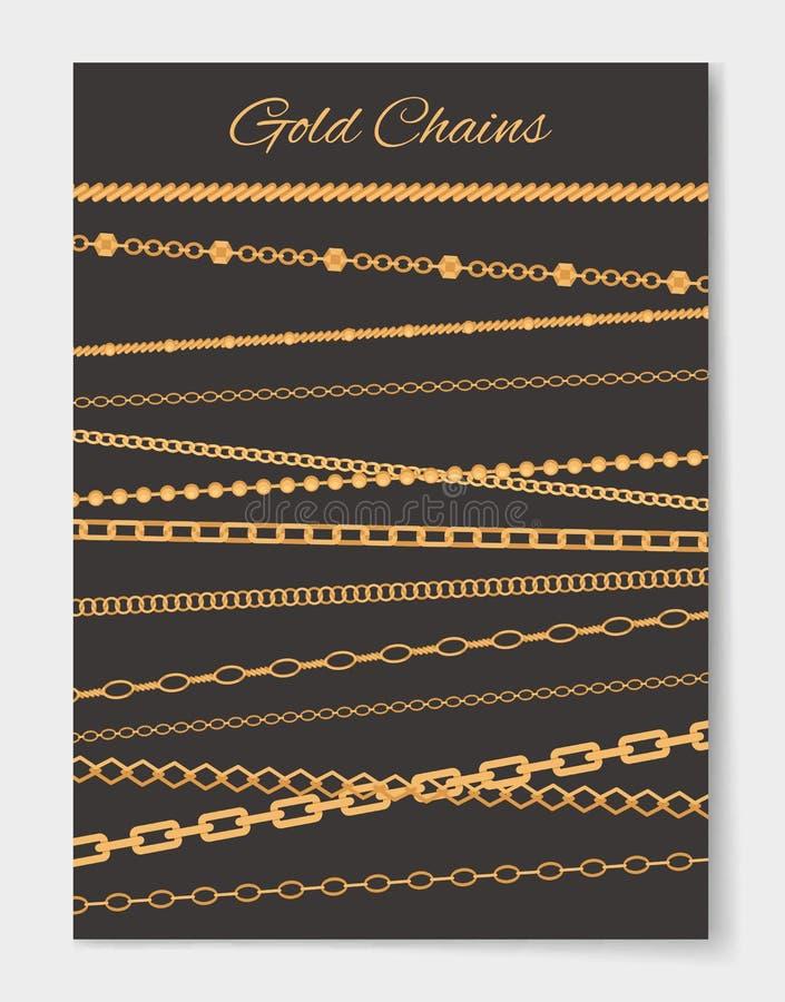 Illustrazione stabilita di vettore del manifesto di varietà delle catene dell'oro illustrazione di stock