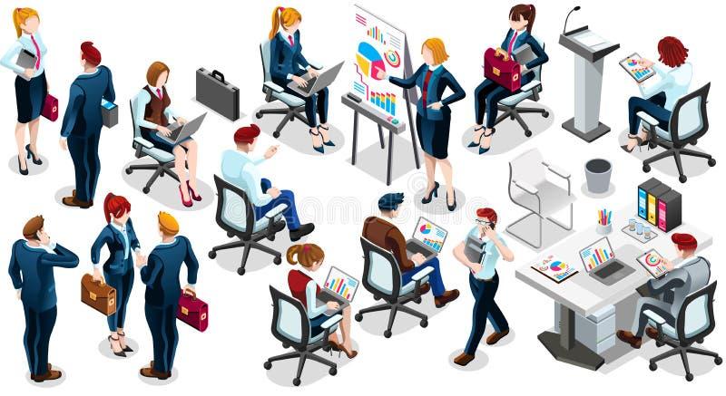 Illustrazione stabilita di vettore della gente di vendita dell'icona isometrica di intervista 3D illustrazione di stock