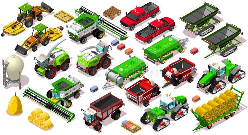 Illustrazione stabilita di vettore della raccolta del veicolo dell'icona isometrica dell'azienda agricola 3D illustrazione vettoriale