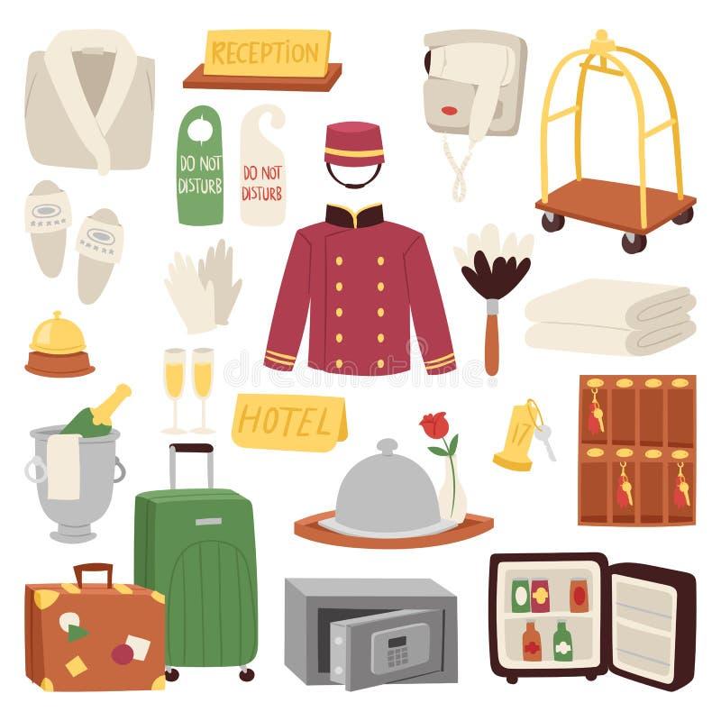 Illustrazione stabilita di vettore della valigia dei bagagli di ricezione di servizio di simbolo di viaggio dell'icona della sist illustrazione di stock