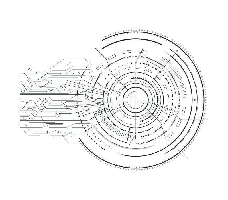 Illustrazione stabilita di vettore di schizzo di fantascienza dell'interfaccia illustrazione di stock