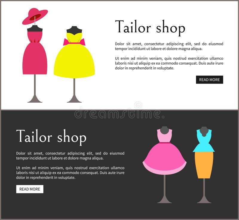 Illustrazione stabilita di vettore di Shop Web Pages del sarto illustrazione di stock