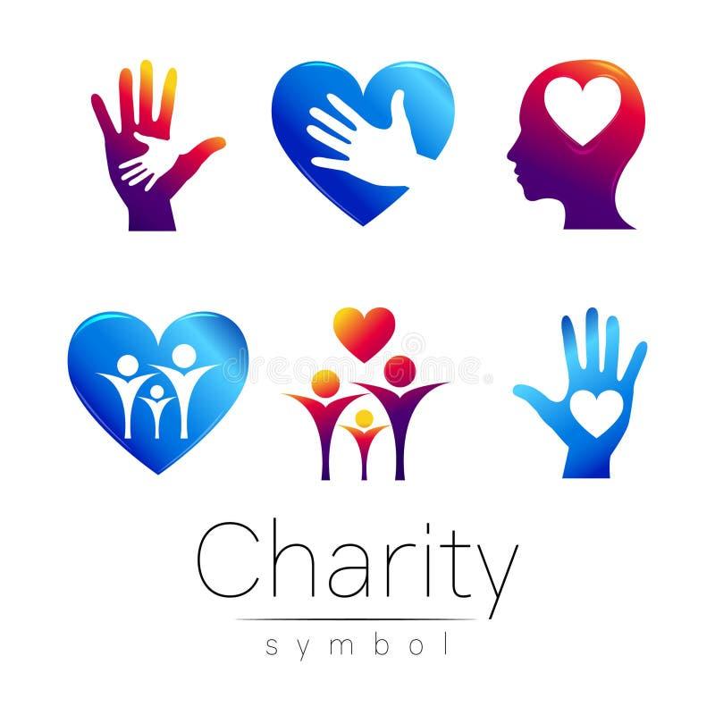 Illustrazione stabilita di vettore Simbolo di carità Firmi la mano hean del cuore della gente su fondo bianco Icona blu viola illustrazione di stock