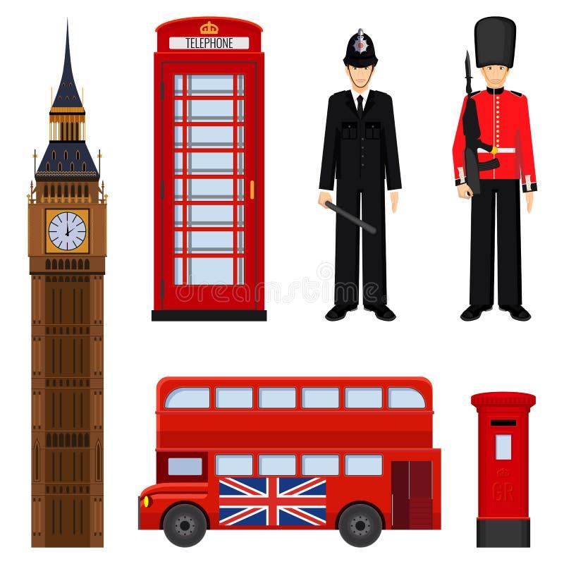 Illustrazione stabilita facente un giro turistico tradizionale di vettore di Londra isolata su bianco illustrazione vettoriale