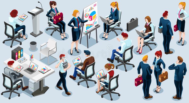 Illustrazione stabilita isometrica di vettore dell'icona 3D del treno di affari della gente royalty illustrazione gratis