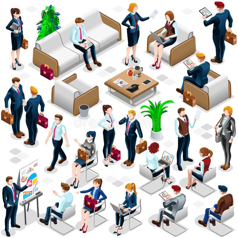 Illustrazione stabilita isometrica di vettore dell'icona 3D di affari dei lotti della gente illustrazione vettoriale