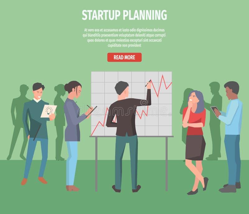 Illustrazione Startup della pagina di informazioni di Internet di pianificazione illustrazione di stock