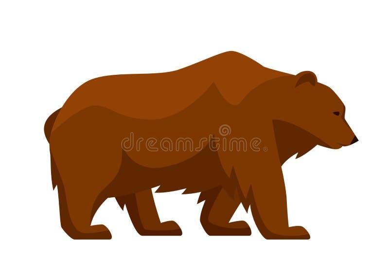 Illustrazione stilizzata dell'orso Animale della foresta del terreno boscoso su fondo bianco illustrazione vettoriale