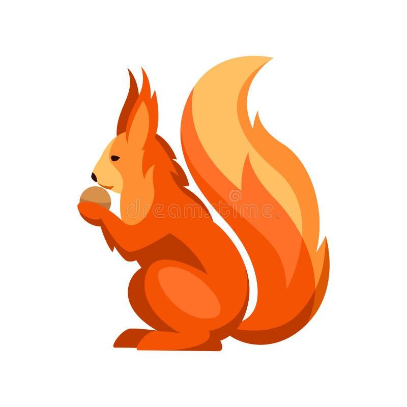 Illustrazione stilizzata dello scoiattolo Animale della foresta del terreno boscoso su fondo bianco illustrazione di stock