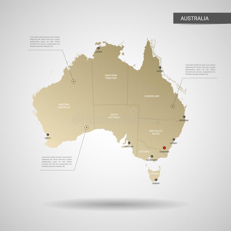 Illustrazione stilizzata di vettore della mappa dell'Australia illustrazione di stock