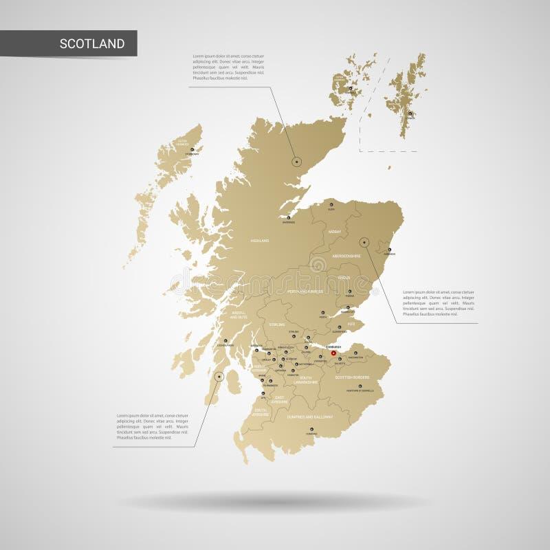 Illustrazione stilizzata di vettore della mappa della Scozia fotografie stock