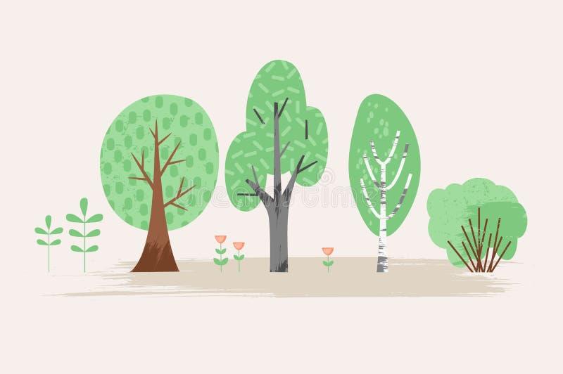 Illustrazione stilizzata di vettore della pianta Alberi, cespuglio, erba, fiori illustrazione di stock
