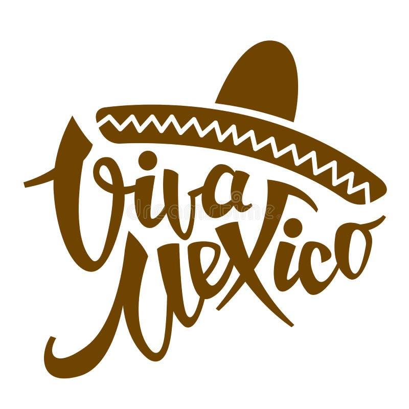 Illustrazione stilizzata di vettore di frase di Viva Messico piana illustrazione vettoriale
