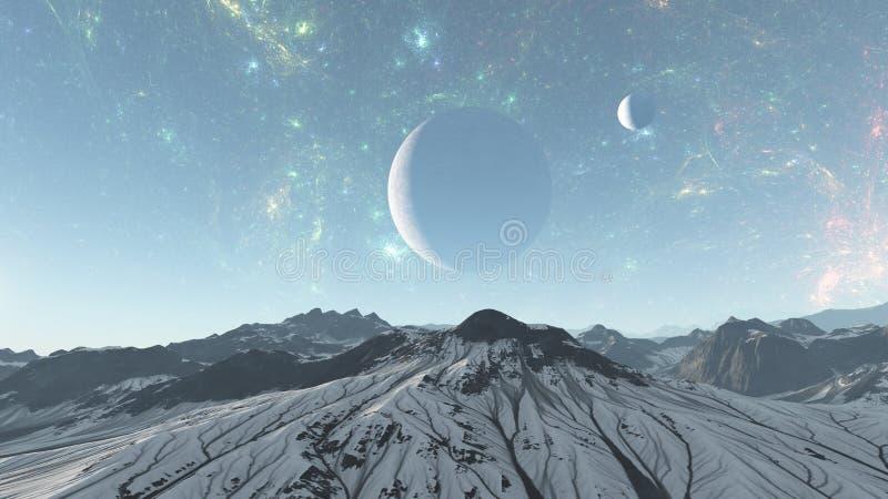 Illustrazione straniera del pianeta -3d della montagna fredda - 3d rendono illustrazione di stock