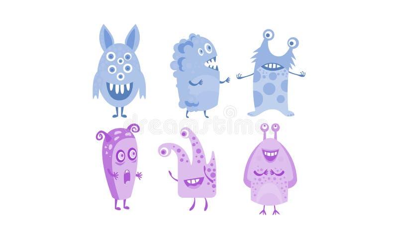 Illustrazione straniera divertente blu e porpora sveglia dell'insieme dei mostri, del carattere di vettore illustrazione di stock
