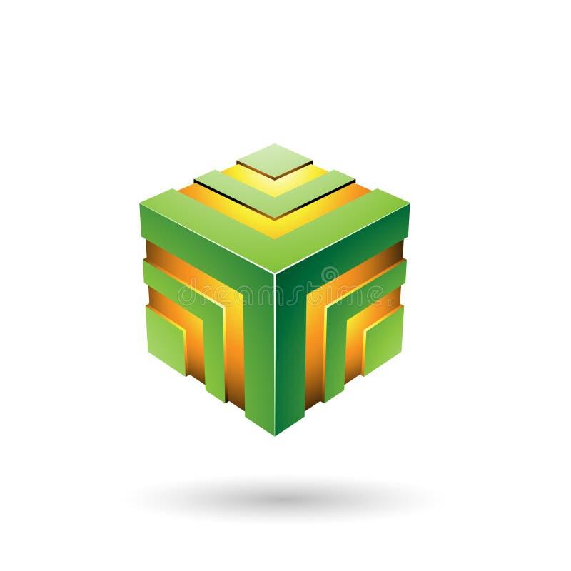 Illustrazione a strisce audace verde di vettore del cubo illustrazione vettoriale