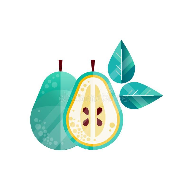 Illustrazione strutturata originale di intero e metà della pera, foglie verdi Frutta dolce e sana Icona piana con royalty illustrazione gratis