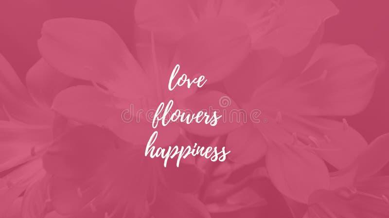 Illustrazione su un fondo rosa con l'iscrizione: amore, fiori fotografie stock