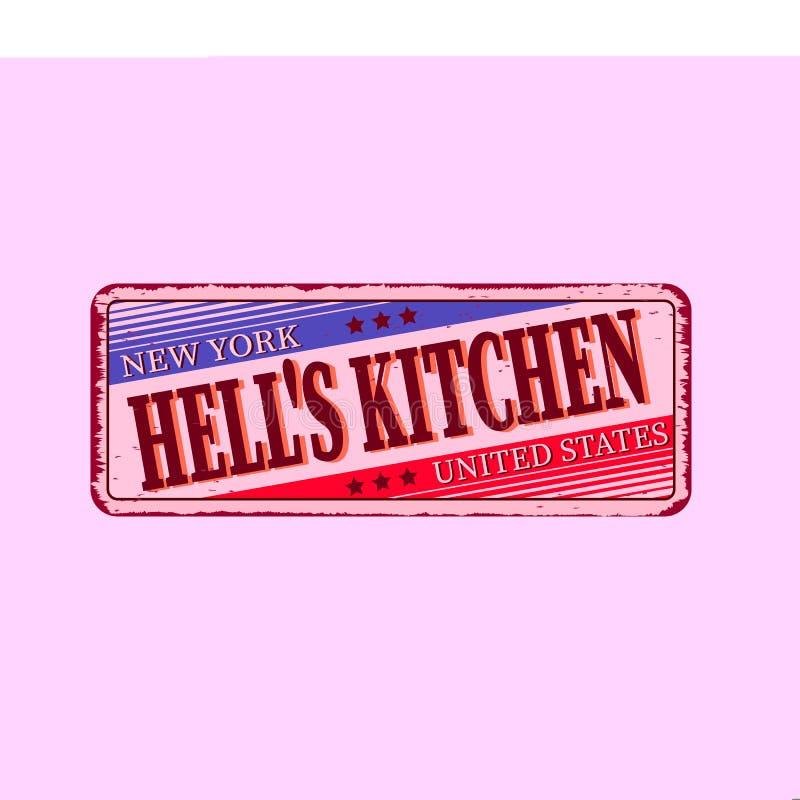 Illustrazione su un tema di New York, cucina di vettore degli inferni Tipografia, grafici della maglietta, insegna, illustrazione di stock