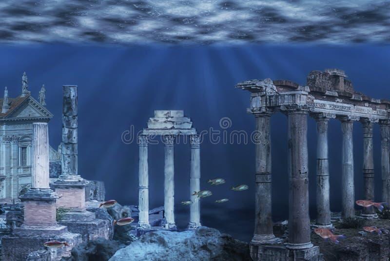 Illustrazione subacquea di rovine royalty illustrazione gratis