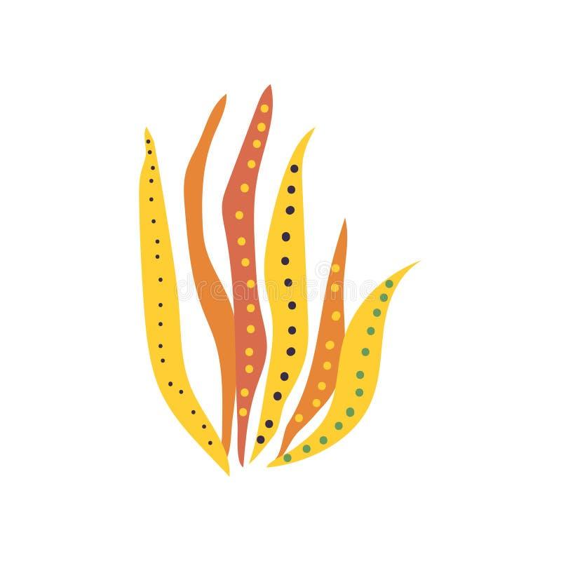 Illustrazione subacquea di vettore dell'alga, di Marine Algae, del mare o della pianta dell'acquario royalty illustrazione gratis