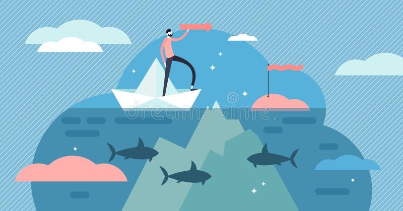 Illustrazione subacquea di vettore delle rocce Concetto minuscolo piano delle persone del pericolo di rischio illustrazione vettoriale