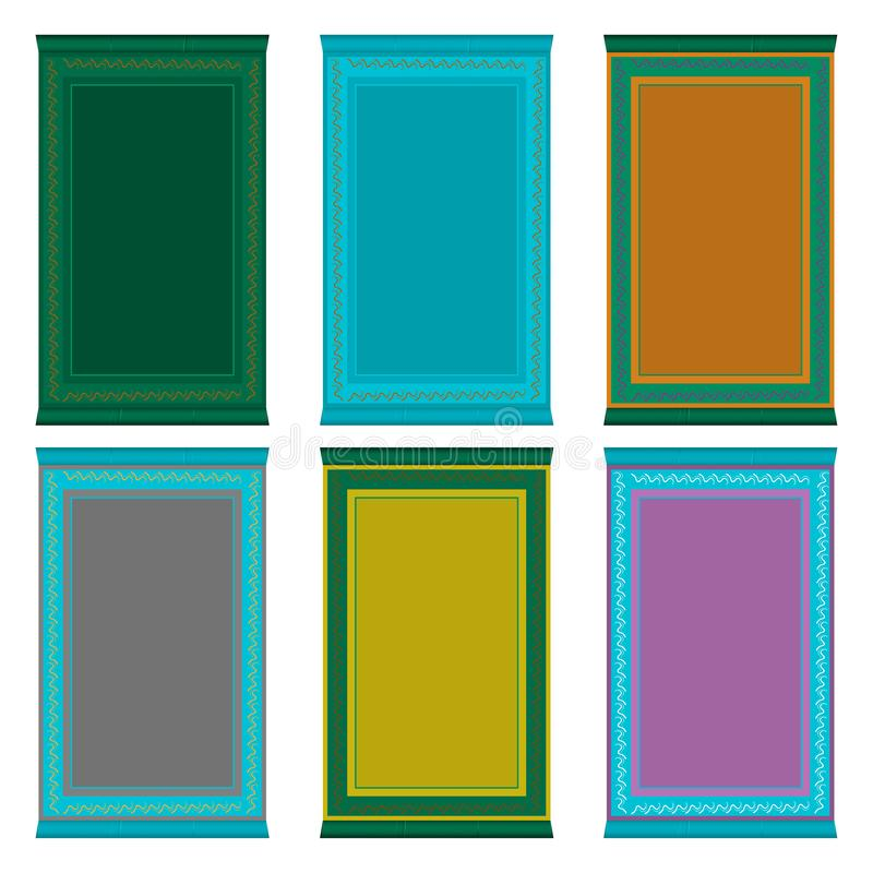 Illustrazione sui grandi tipi differenti dell'insieme colorato di tema di coperte di preghiera illustrazione vettoriale