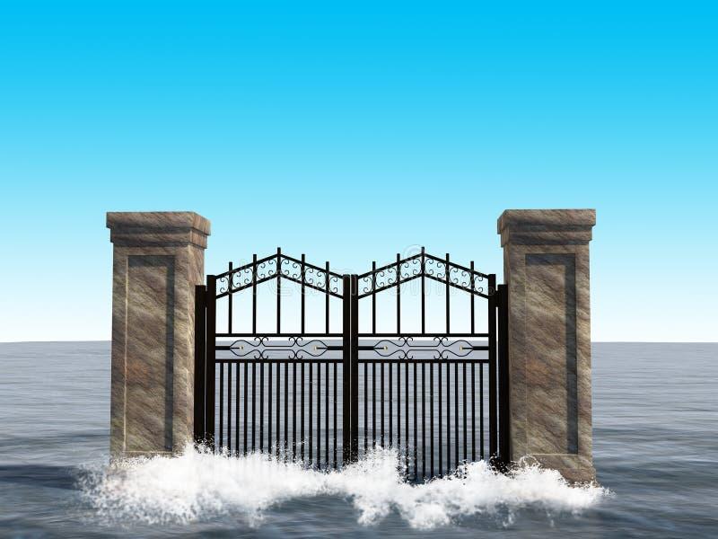 Illustrazione surreale del fondo del portone dell'oceano illustrazione di stock