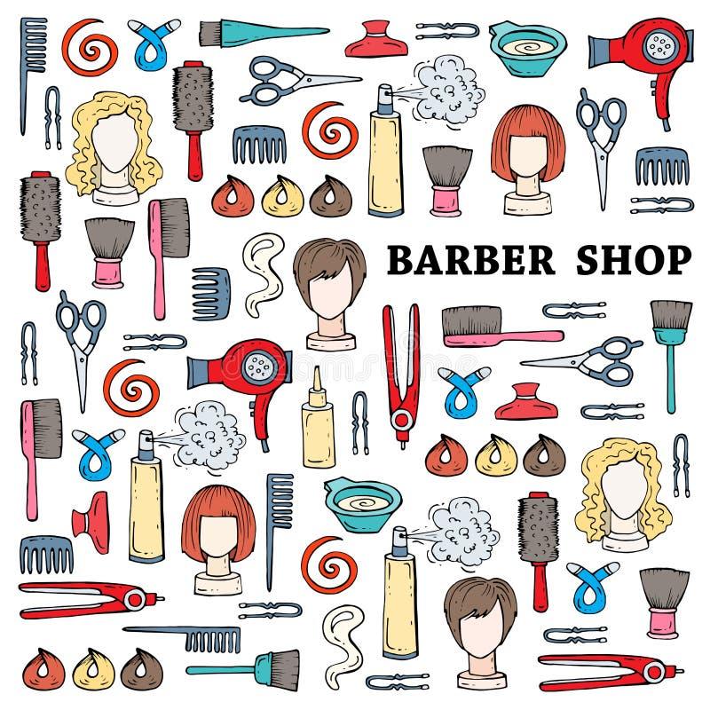 Illustrazione sveglia con i simboli disegnati a mano del negozio di barbiere royalty illustrazione gratis