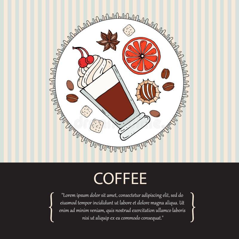 Illustrazione sveglia con la bevanda disegnata a mano del caffè illustrazione di stock