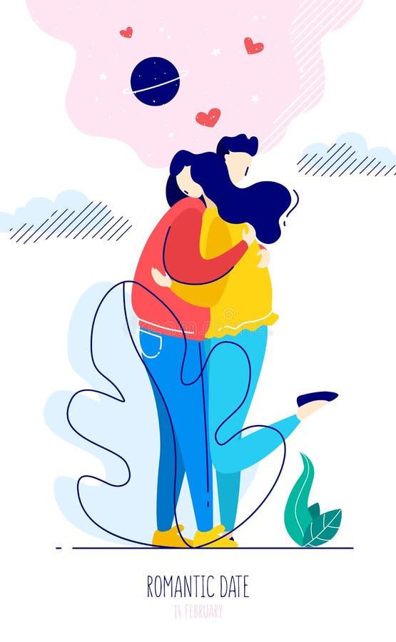 Illustrazione sveglia con un tipo che abbraccia una ragazza e gli elementi grafici Carta romantica nello stile lineare piano d'av royalty illustrazione gratis