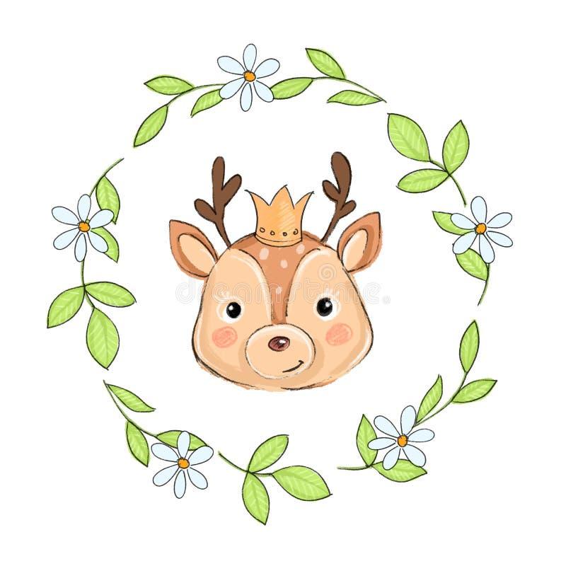 Illustrazione sveglia del fumetto dei cervi del bambino illustrazione vettoriale