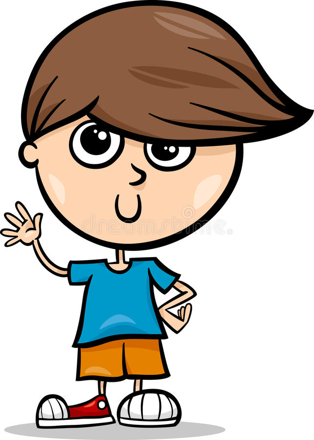 Illustrazione sveglia del fumetto del ragazzino illustrazione di stock