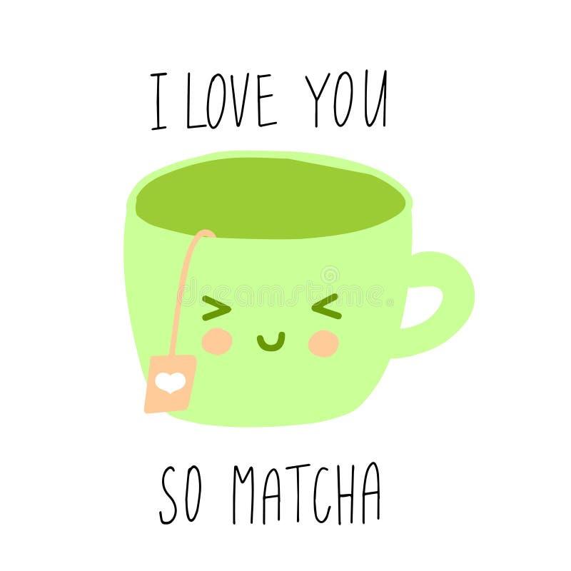Illustrazione sveglia del fumetto della tazza di tè verde con la citazione di divertimento illustrazione di stock