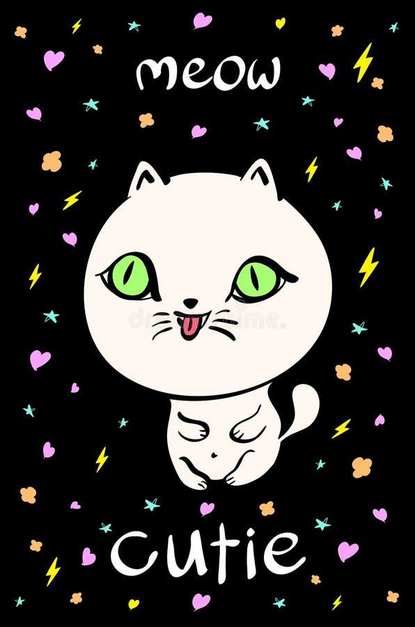 Illustrazione sveglia del gatto per la maglietta o altri usi, nel vettore royalty illustrazione gratis