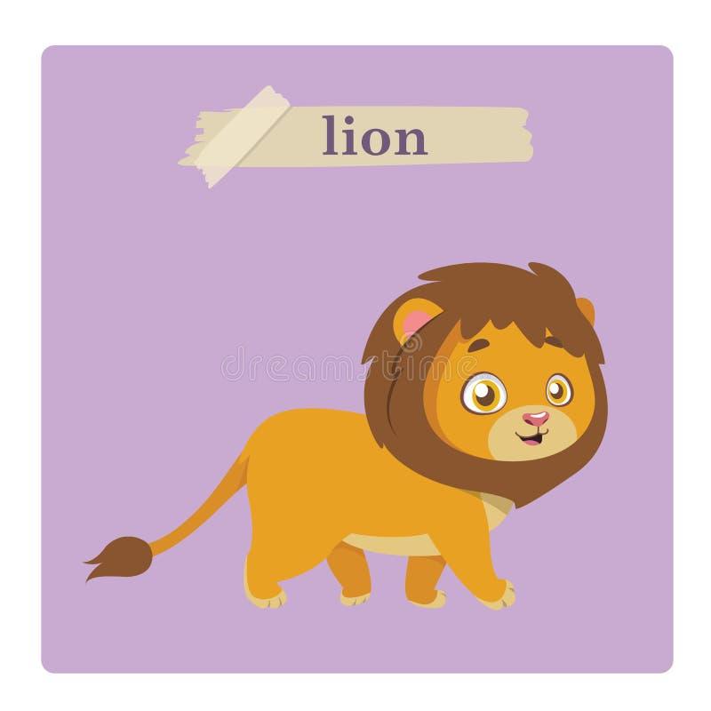 Illustrazione sveglia del leone su fondo porpora royalty illustrazione gratis
