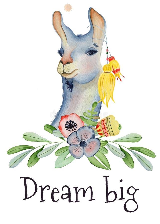 Illustrazione sveglia dell'acquerello del personaggio dei cartoni animati del lama, animale dell'alpaga, stile disegnato a mano G royalty illustrazione gratis