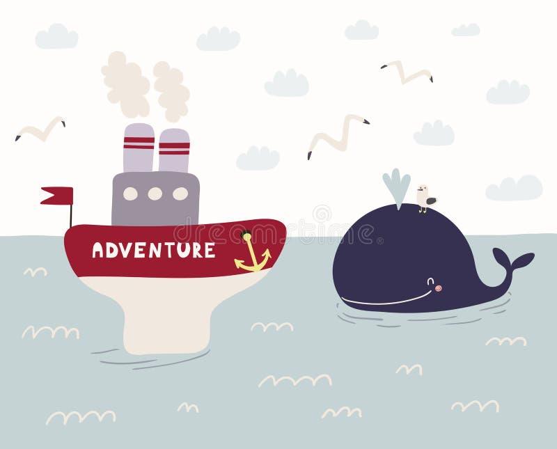 Illustrazione sveglia della balena e della nave a vapore illustrazione vettoriale