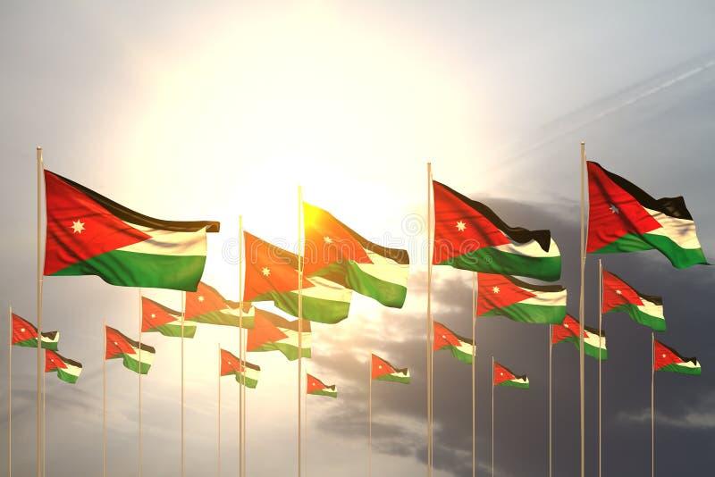 Illustrazione sveglia della bandiera 3d di celebrazione - molte bandiere della Giordania in una fila sul tramonto con il posto vu royalty illustrazione gratis